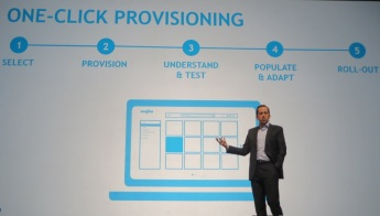 Anaplan CEO Frederic Laluyaux highlights fast, one-click provisioning of planning apps at AnaplanHub15.