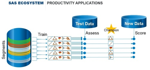 SAS Factory Miner is designed to automatically train, test and identify best-fit predictive models for hundreds of segments with just a few clicks.