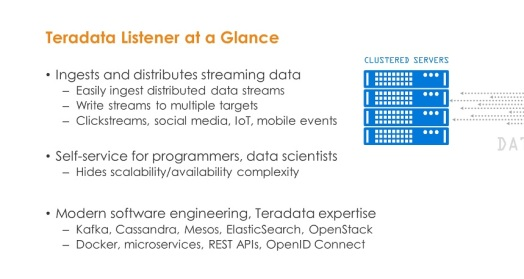 Teradata Listener is designed to capture and distribute data in streaming scenarios including IoT use cases.